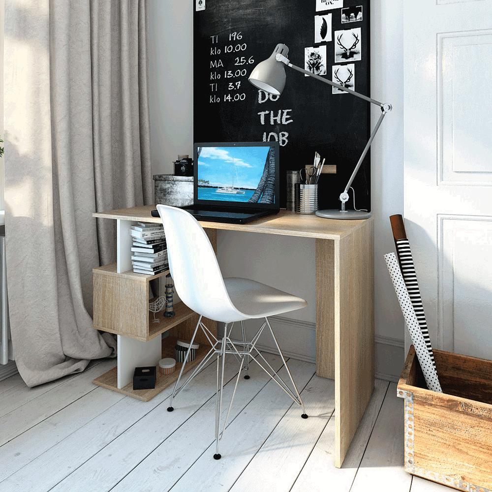 Számítógépasztal, sonoma tölgy/fehér, ABES