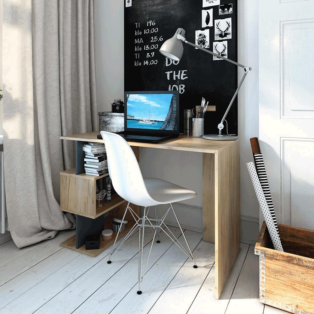 Számítógépasztal, artisan tölgy/grafit, ABES