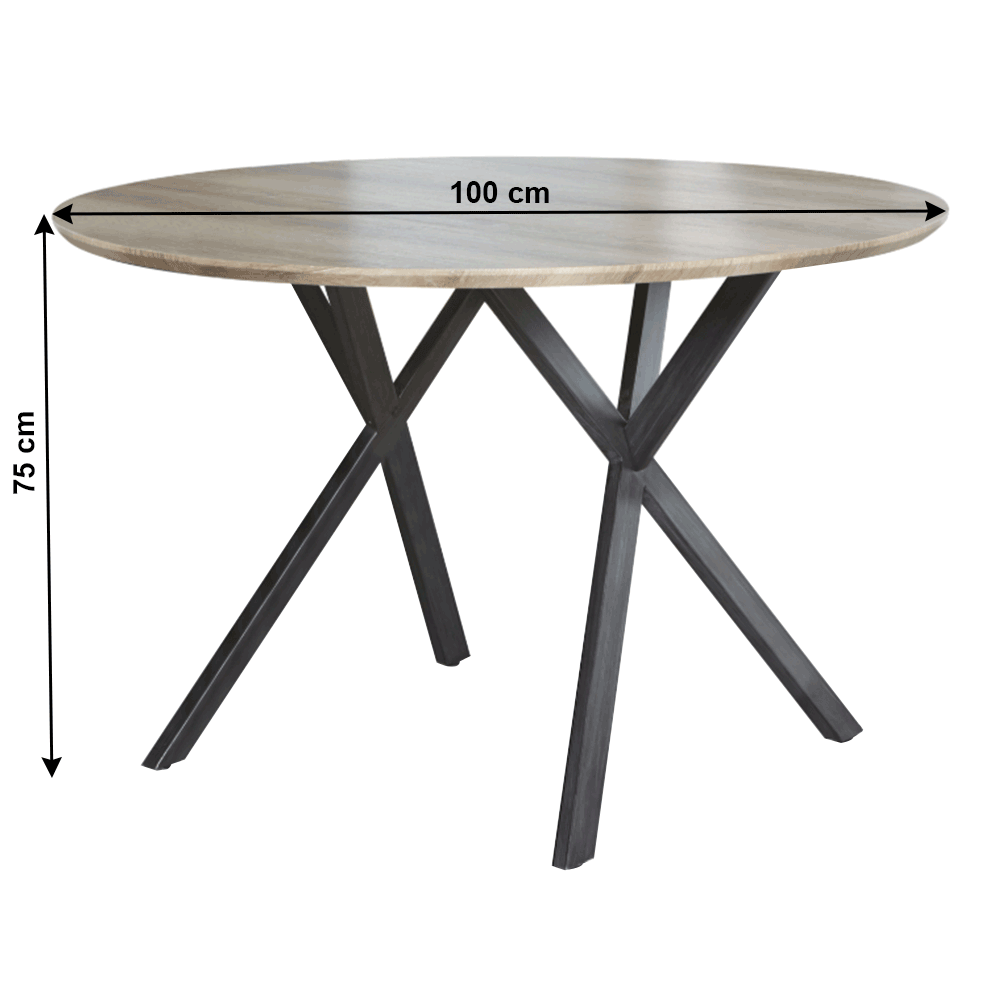 Étkezőasztal, szürke tölgy/fekete, AKTON