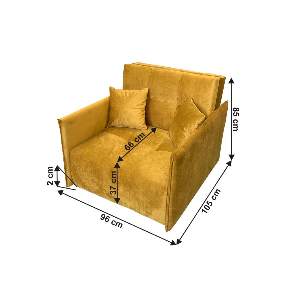Kinyitható fotel, mustár színű szövet Riviera, ALANA