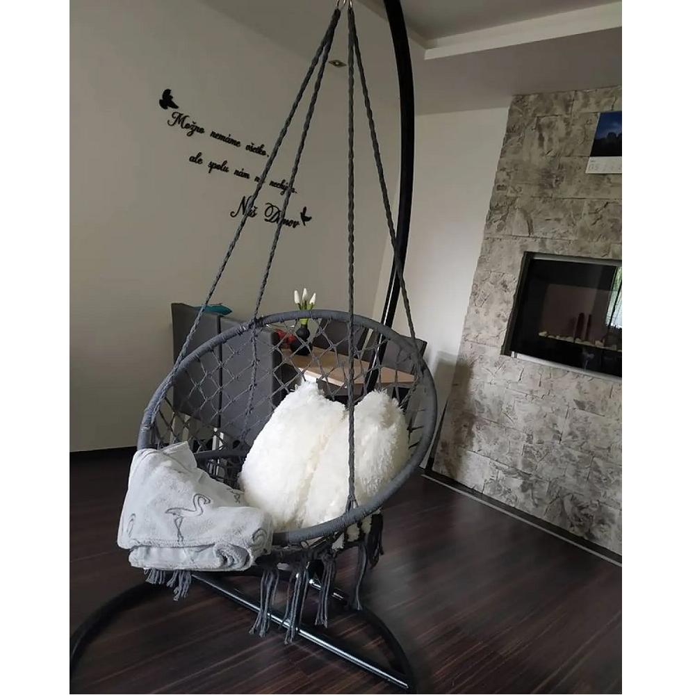 Függő szék, pamut+fém/szürke, AMADO 2 NEW