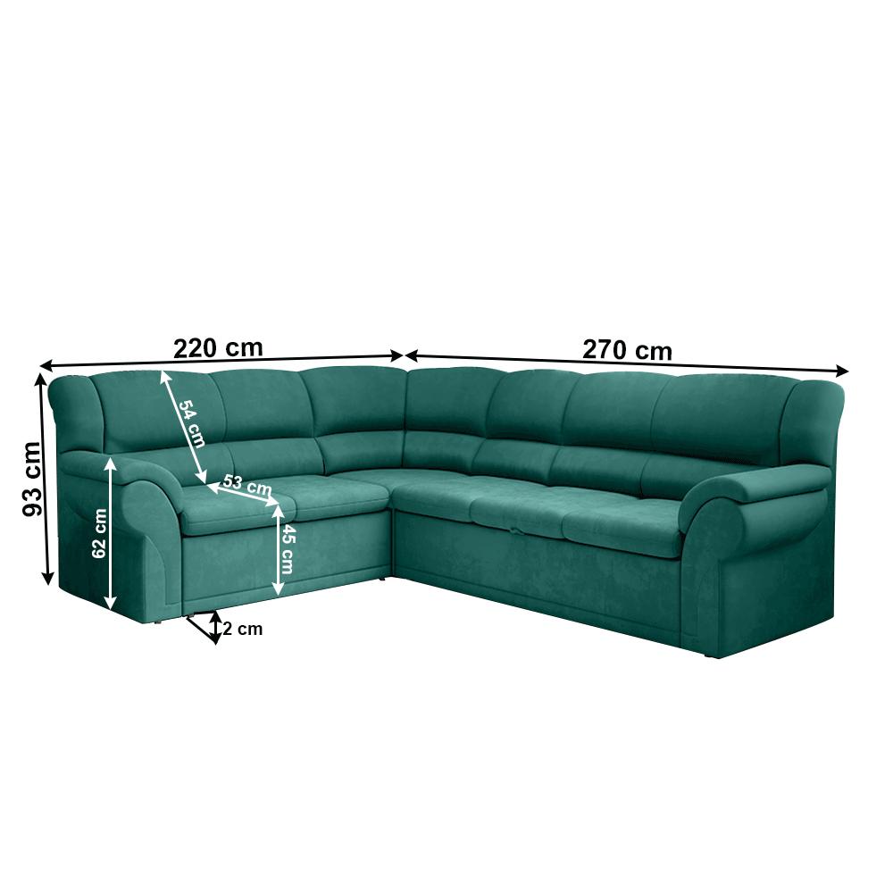 Ülőgarnitúra, smaragd, balos, AMELIA