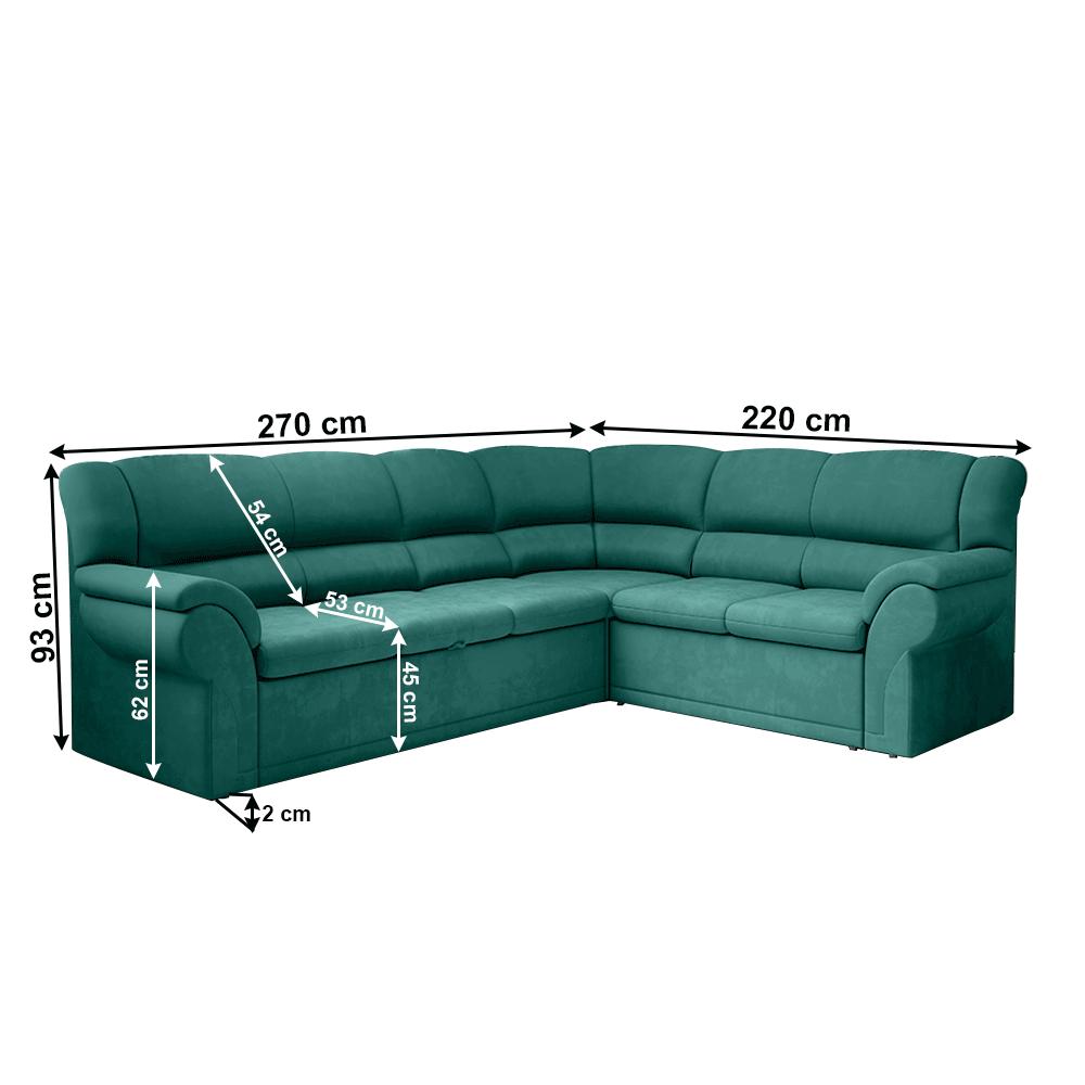 Ülőgarnitúra, smaragd, jobbos, AMELIA