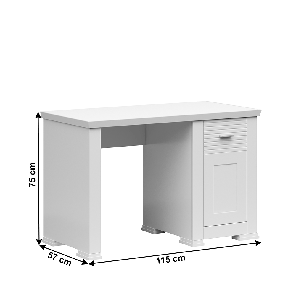 Számítógépasztal, fehér, ARYAN