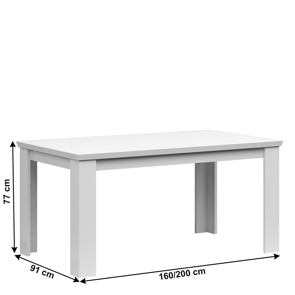 Szétnyitható étkezőasztal, 160/200cm, fehér, ARYAN