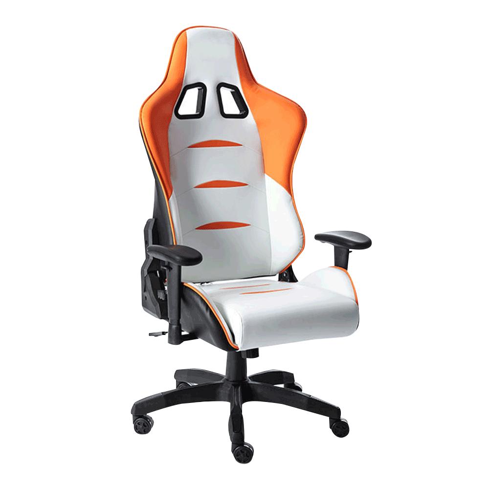 Irodai/gamer szék, fehér/narancssárga/fekete, ASKARE