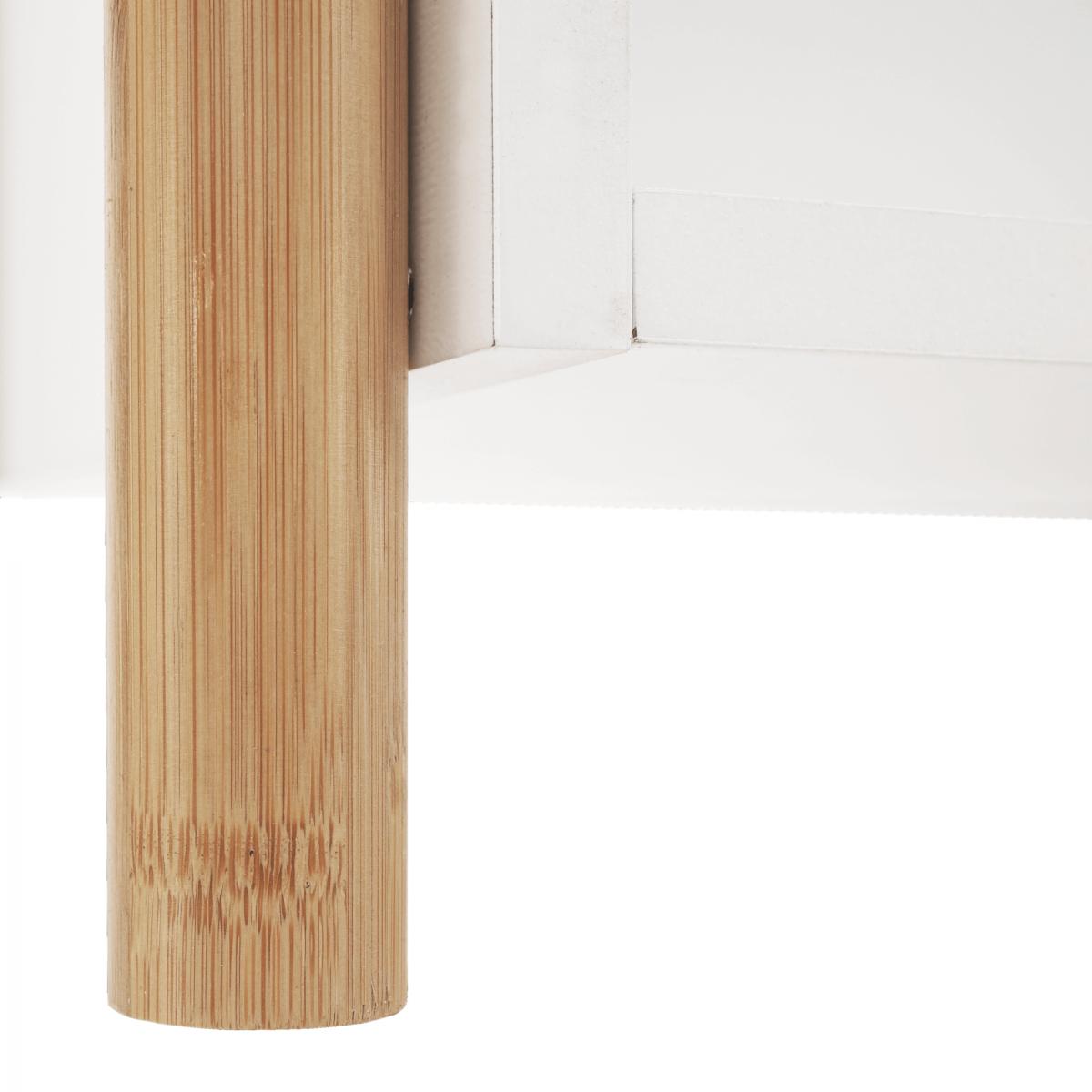 2 polcos állvány, természetes bambusz/fehér, BALTIKA TYP 1