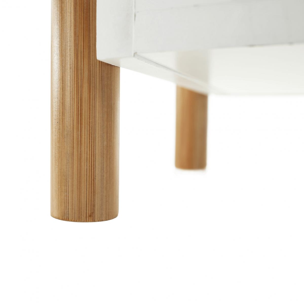 3 polcos állvány, természetes bambusz/fehér, BALTIKA TYP 2