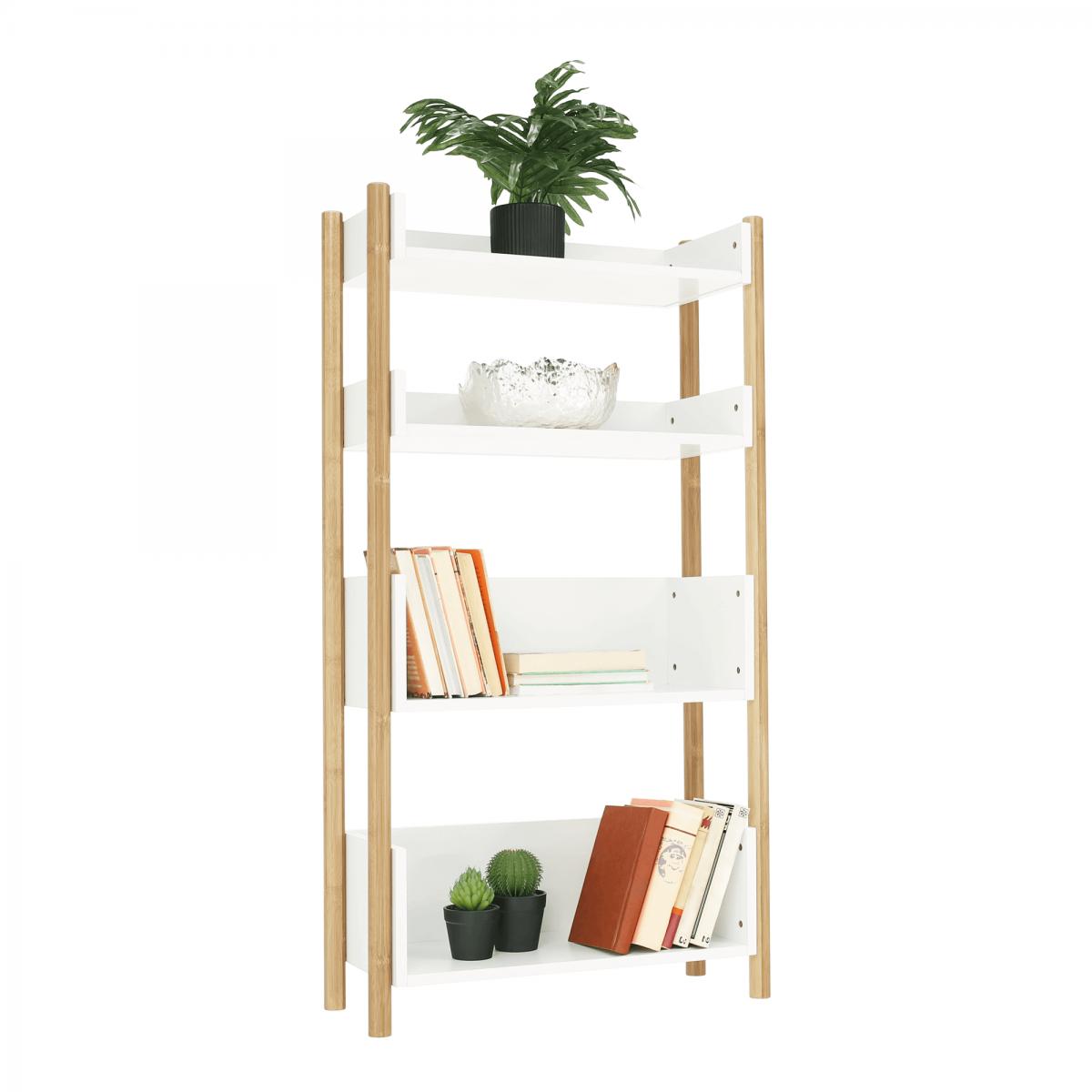 4 polcos állvány, természetes bambusz/fehér, BALTIKA TYP 3