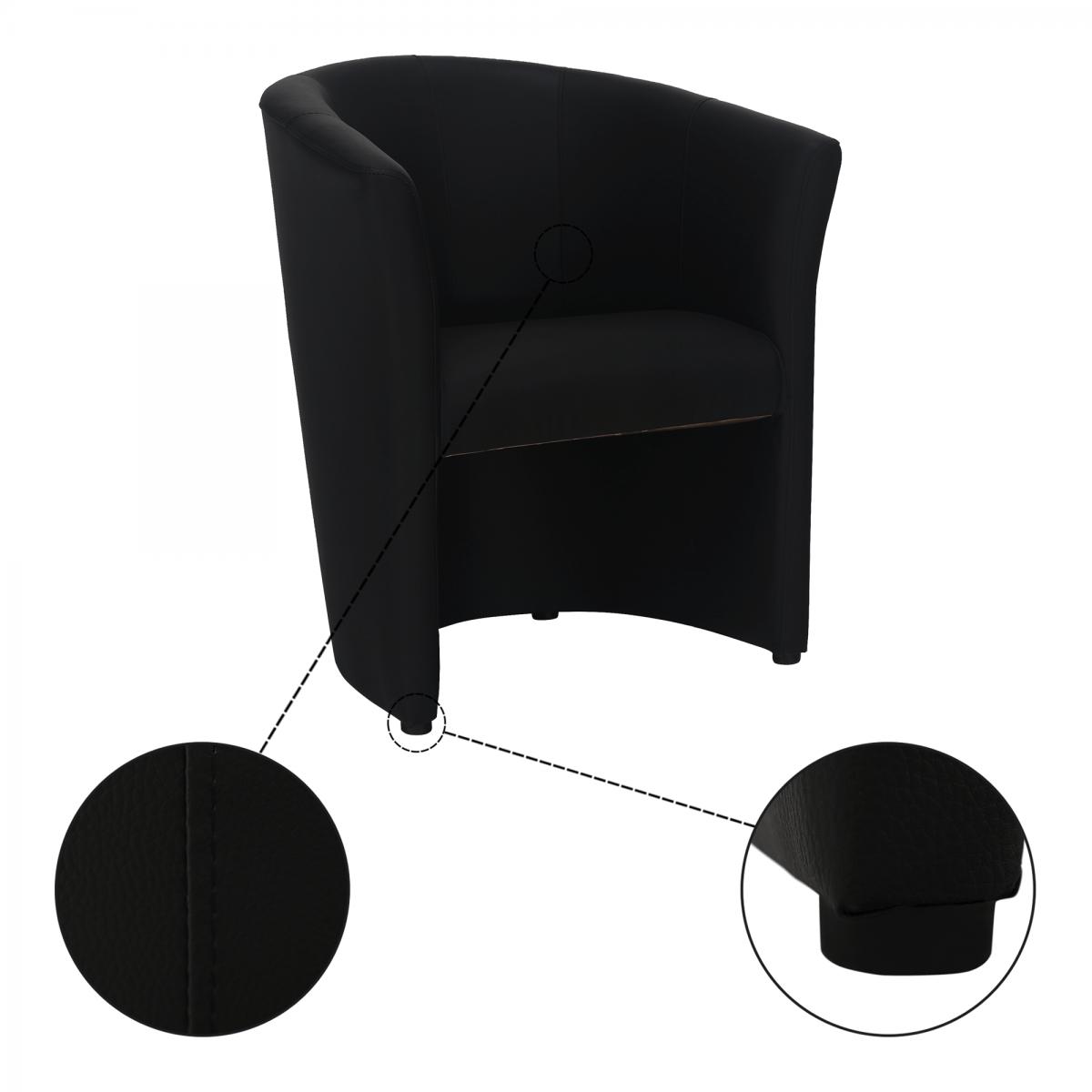 Klub fotel, fekete textilbőr, CUBA