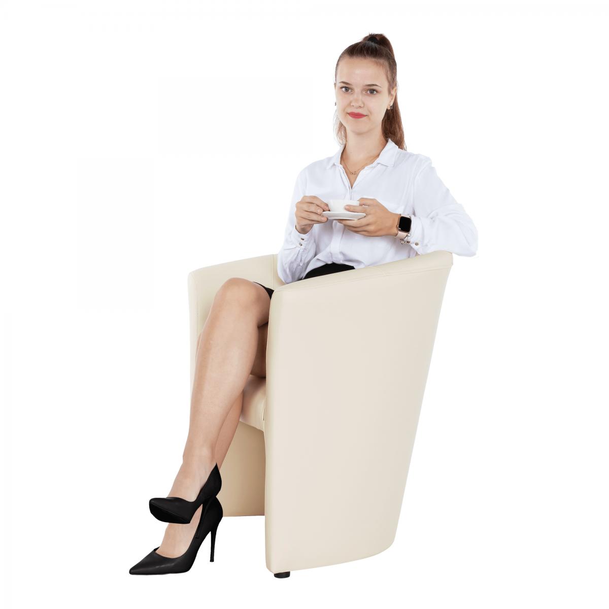 Klub fotel, bézs textilbőr, CUBA