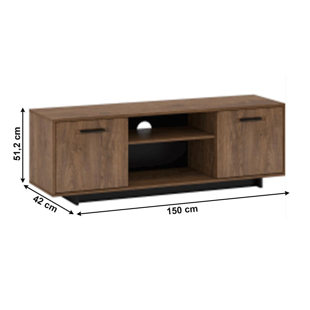 RTV asztal, bolzano tölgy/fekete, DELIS B