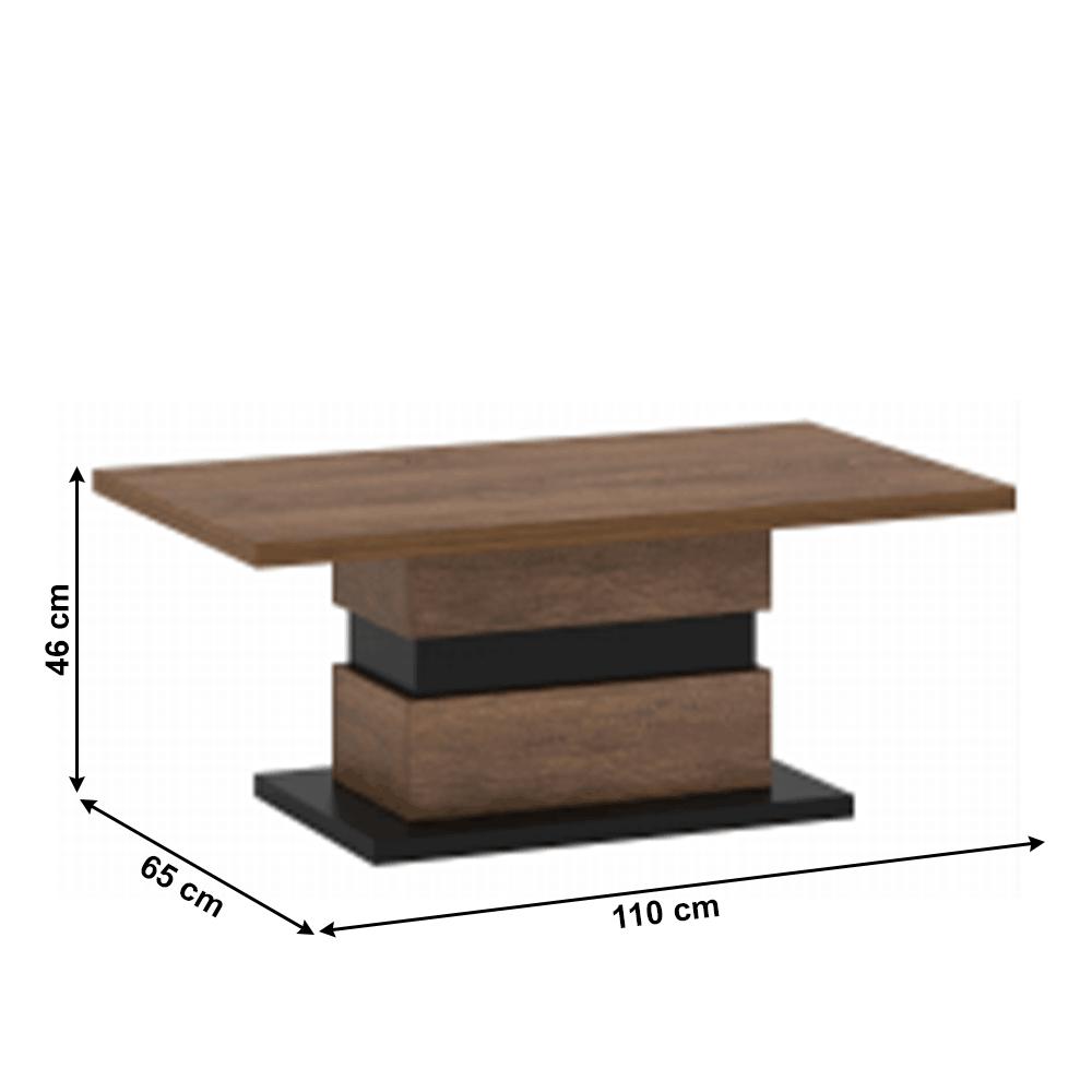 Dohányzóasztal, bolzano tölgy/fekete, DELIS T