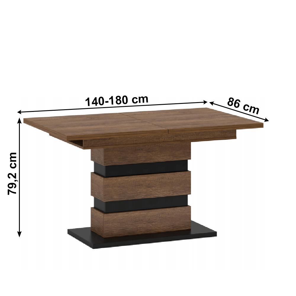 Széthúzható étkezőasztal, bolzano tölgy/fekete, DELIS S