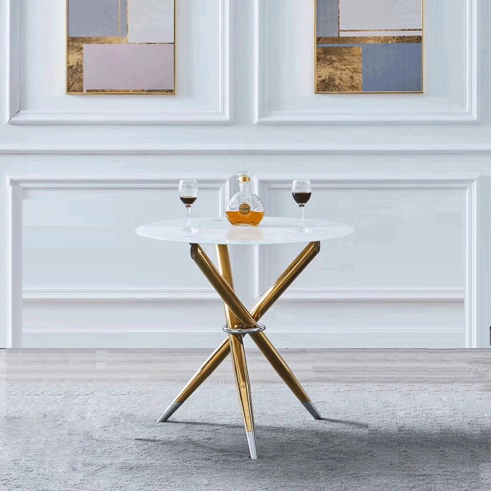 Étkezőasztal/dohányzóasztal, fehér/gold króm arany, DONIO