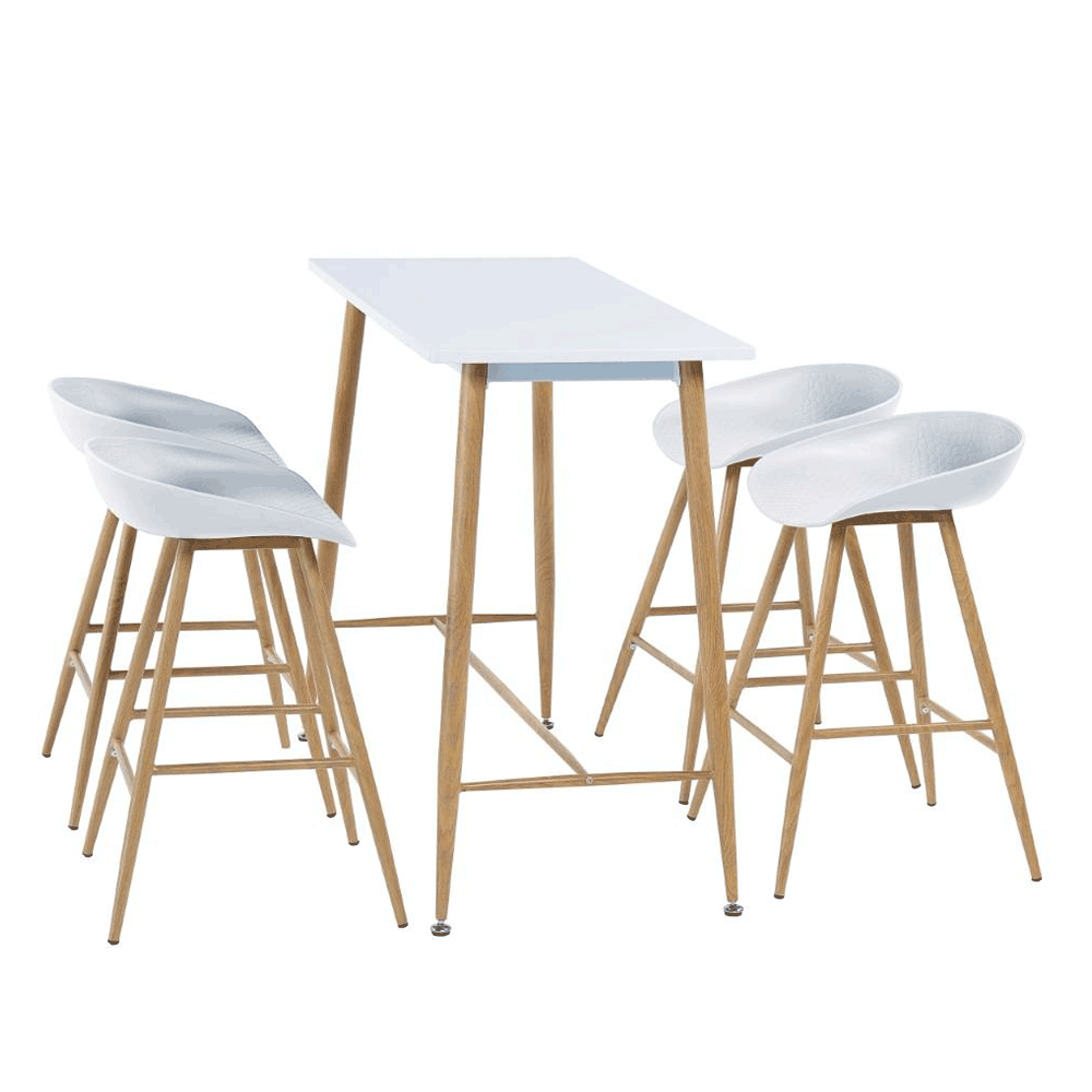 Bárasztal, fehér/bükk, MDF/fém, DORTON
