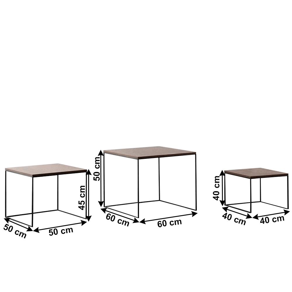 Három darabos dohányzóasztal szett, MDF/fém, dió/ fekete, DVEIN