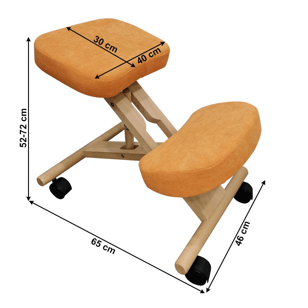 Ergonomikus térdelőszék, narancs/bükkfa, FLONET