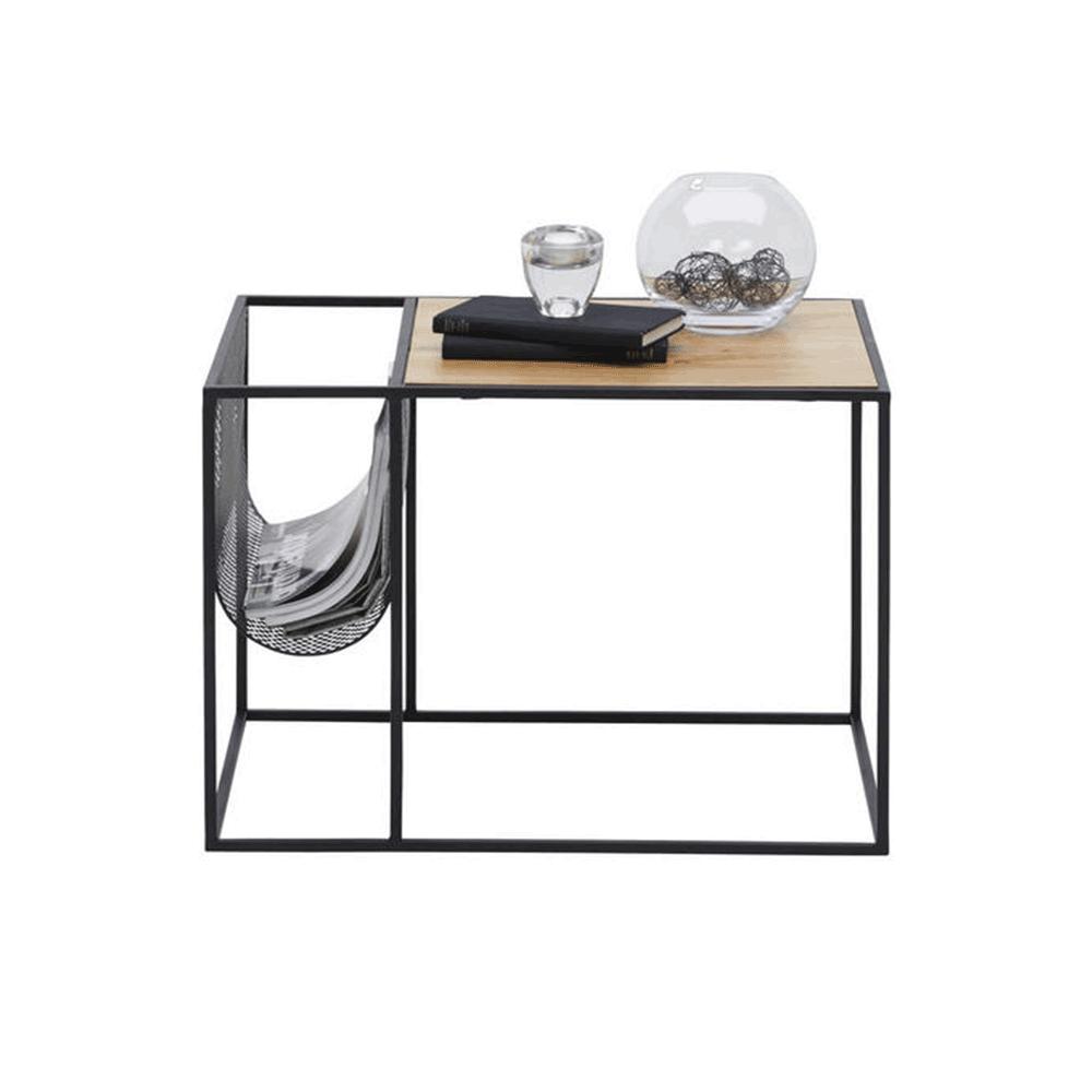 Kisasztal, fém/MDF, fekete/tölgy, FLYN