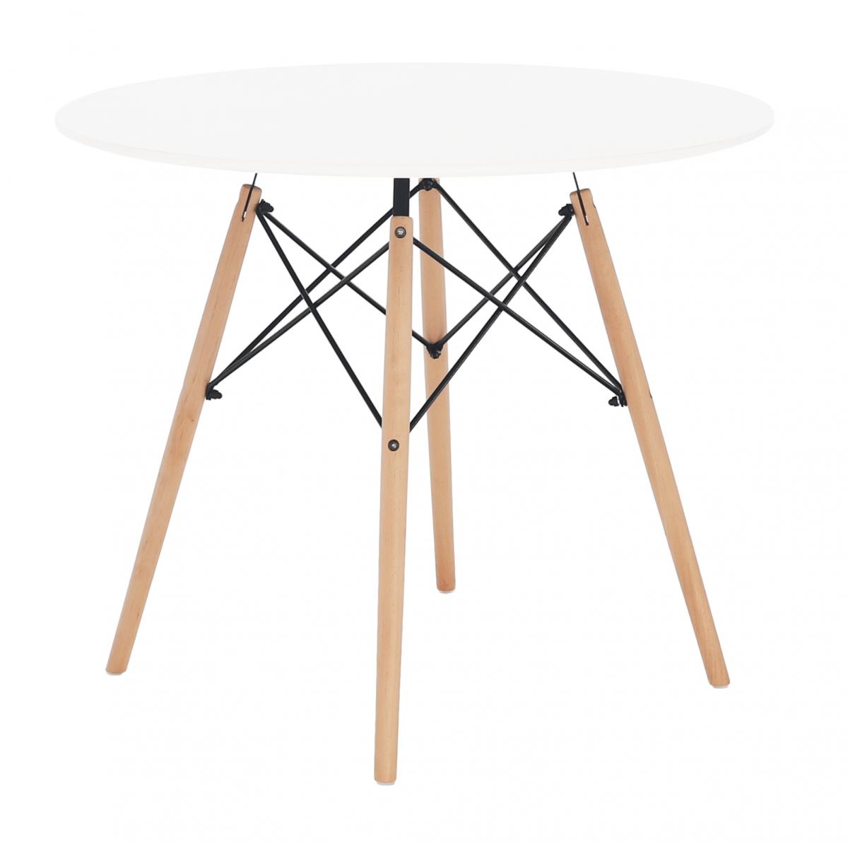 Étkezőasztal, fehér/bükk, GAMIN NEW 90