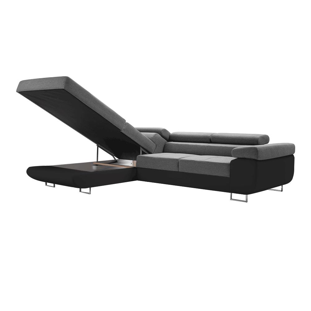 Kinyitható sarok ülőgarnitúra, fekete/szürke, balos, GELAN