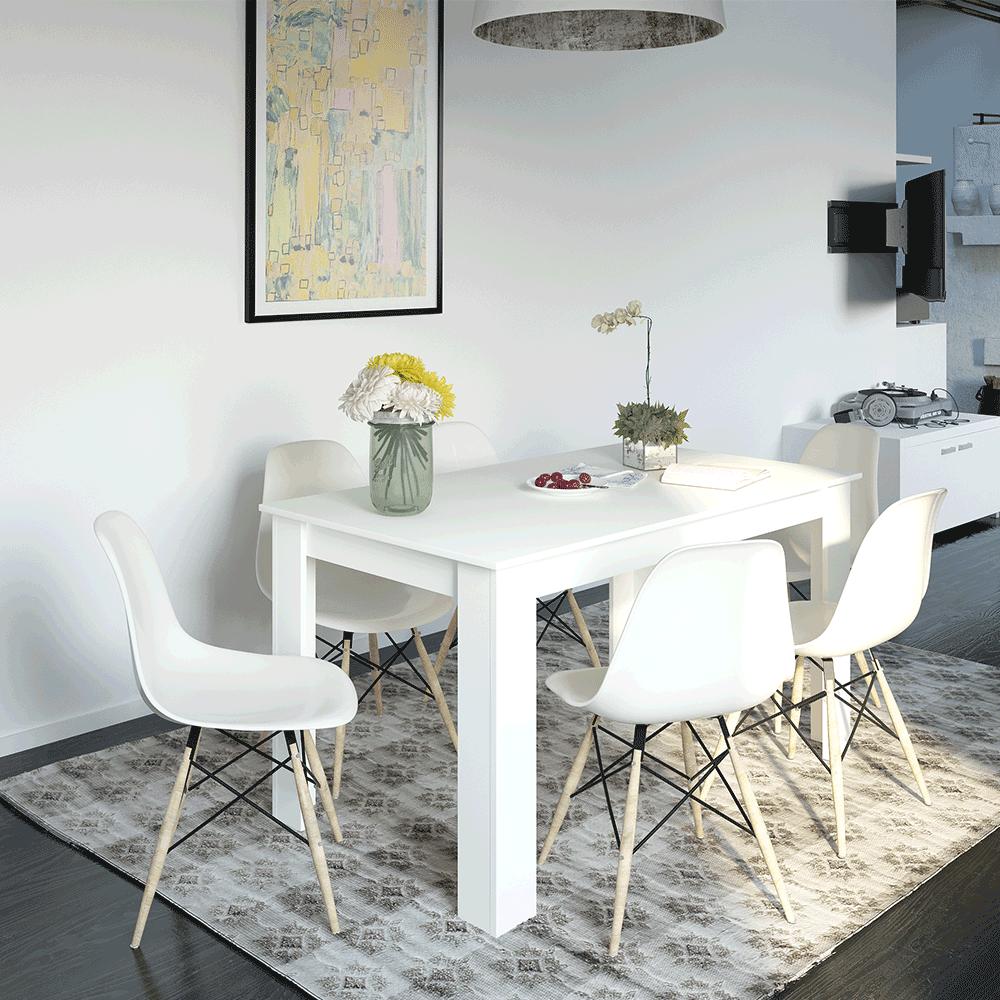Étkezőasztal, fehér, 140x80, GENERAL NEW