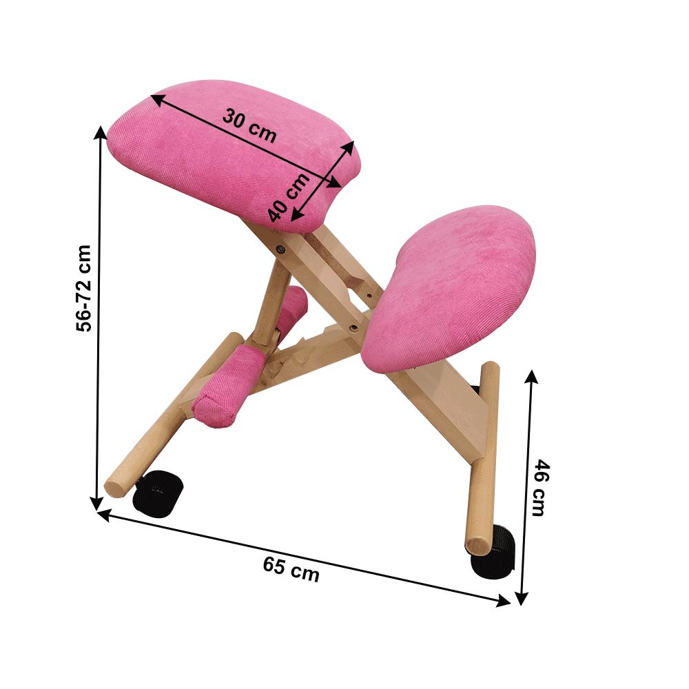 Ergonomikus térdelőszék, rózsaszín/bükkfa, GROCO