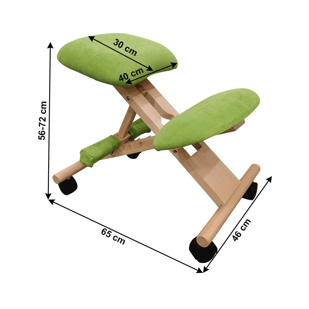 Ergonomikus térdelőszék, rzöld/bükkfa, GROCO