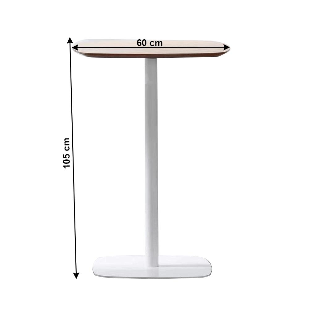 Bárasztal, tölgy/fehér, MDF/fém, HARLOV