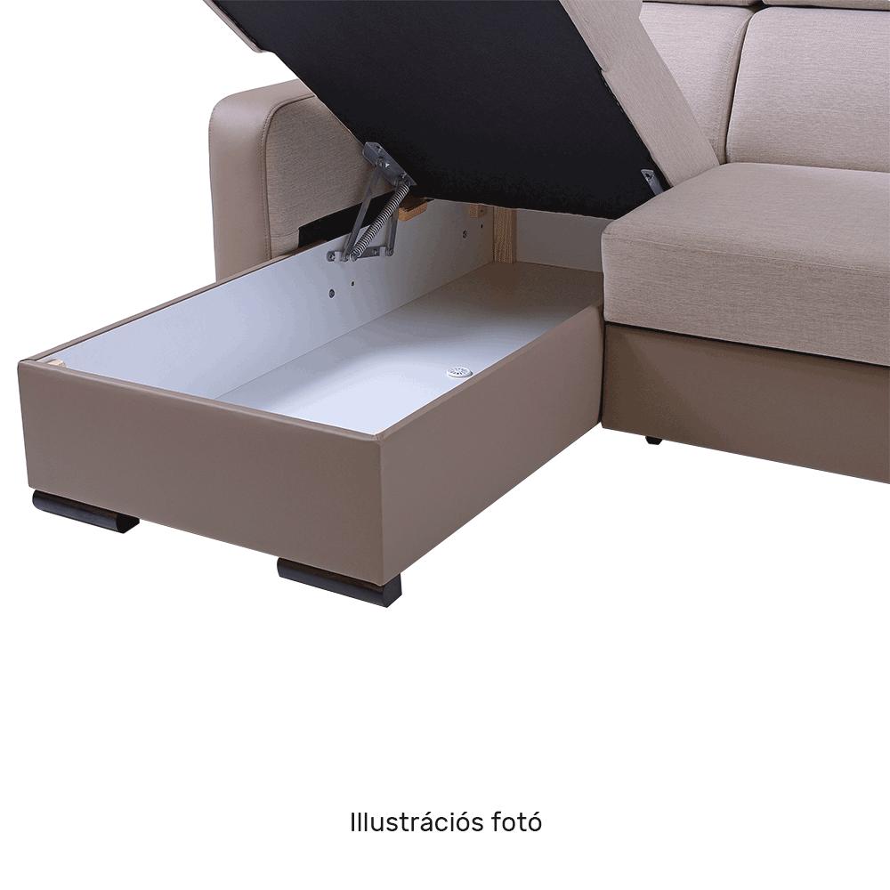 Ülőgarnitúra, világosbarna/barna, balos, IMPERIO U