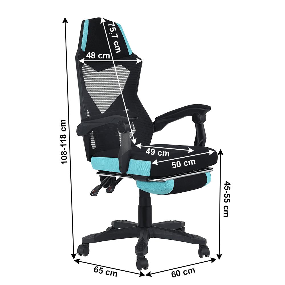 Irodai/gamer szék, fekete/neomint, JORIK