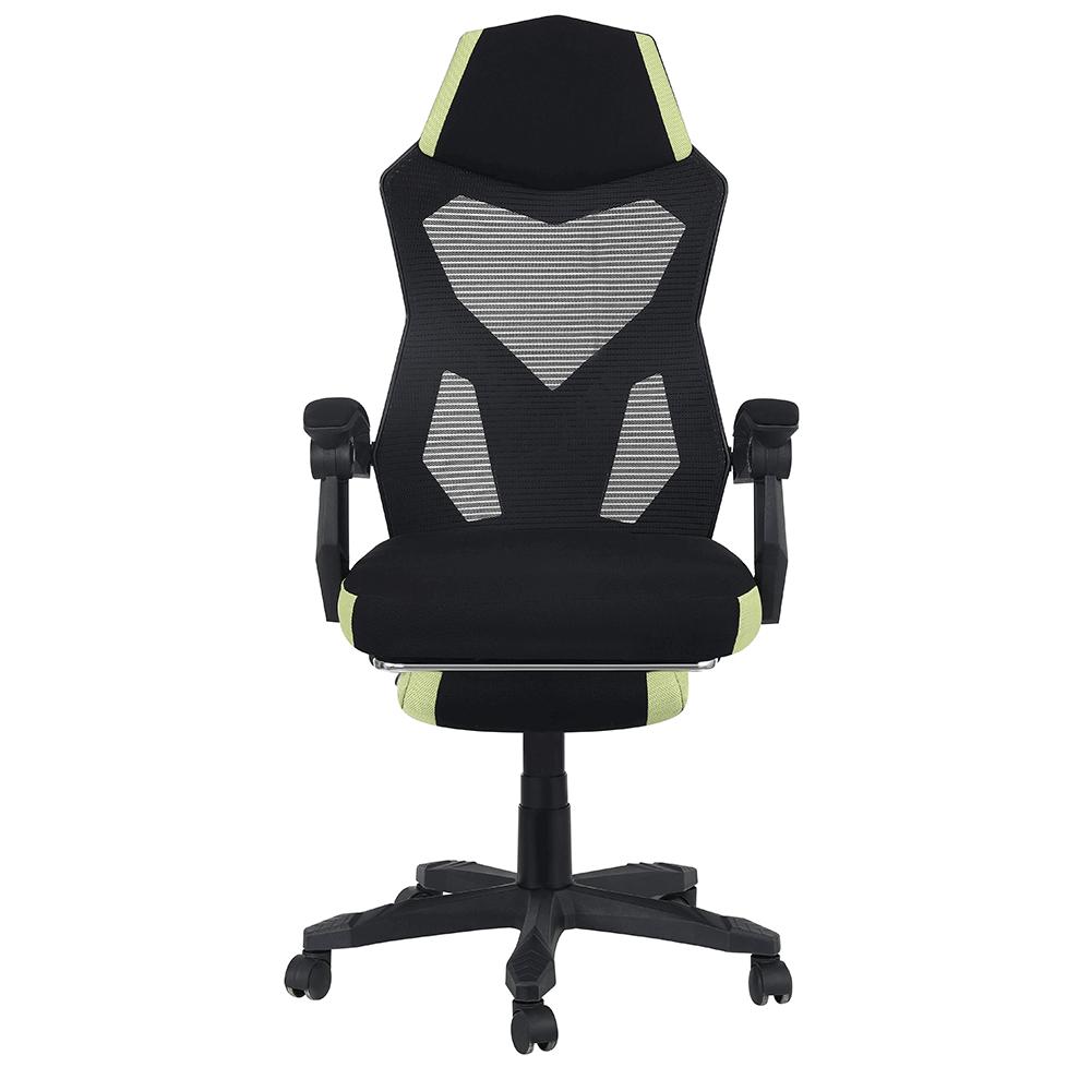 Irodai/gamer szék, fekete/zöld, JORIK