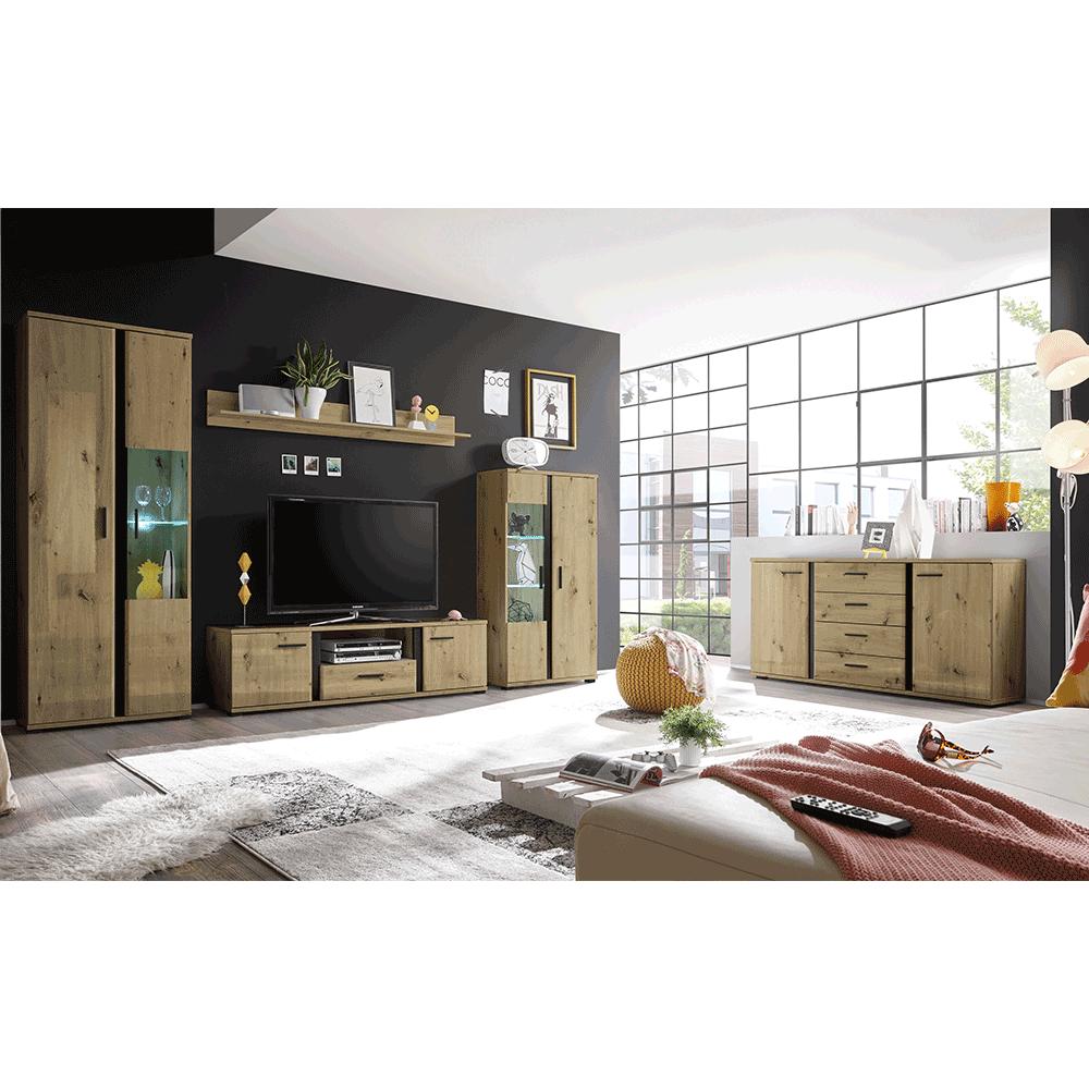 Nappali fal/szekrénysor, artisan tölgy/fekete, KANODE