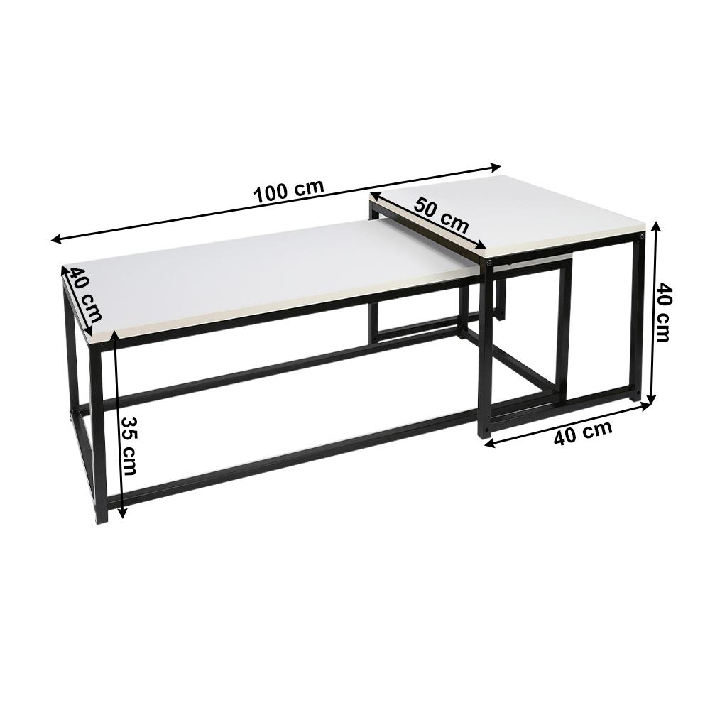 2 dohányzóasztal szett, matt fehér/fekete, KASTLER NEW TYP 2