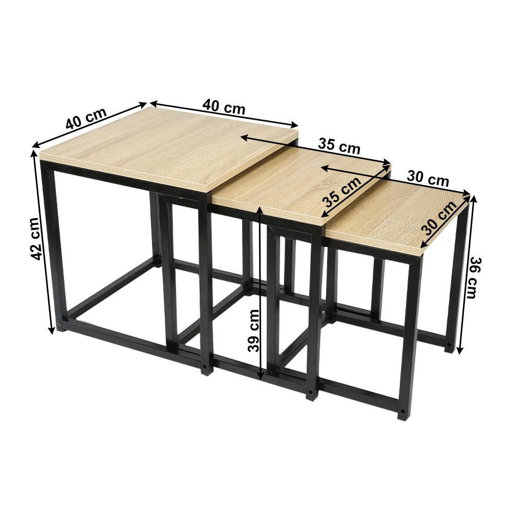 3 részből álló dohányzóasztal, sonoma tölgy/fekete, KASTLER NEW TYP 3