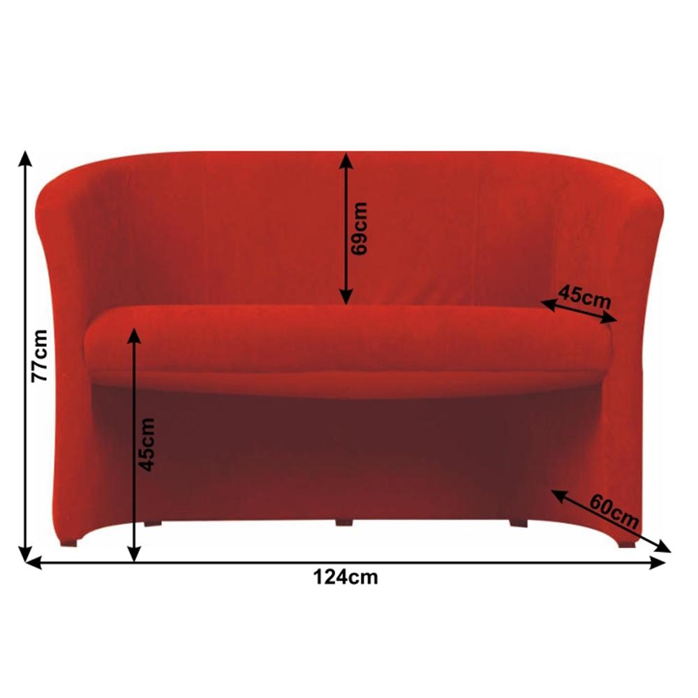 Klub dupla fotel, szövet piros, CUBA