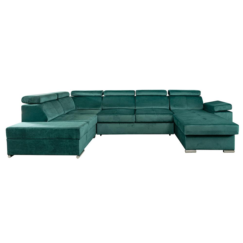 Ülőgarnitúra, smaragd, jobbos, LAMORA U