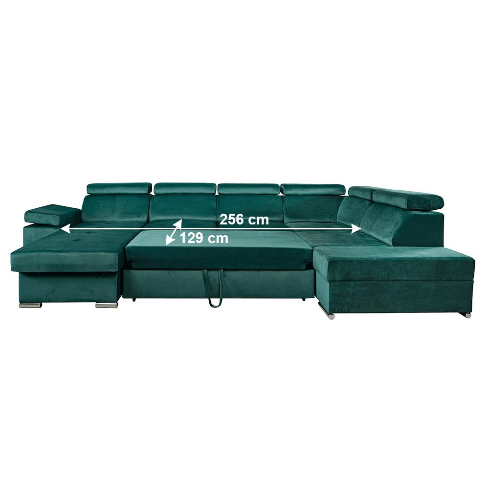 Ülőgarnitúra, smaragd, balos, LAMORA U