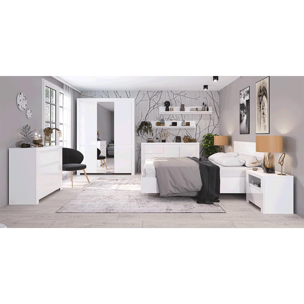 Franciaágy, 160x200, fehér fényes, LINDY