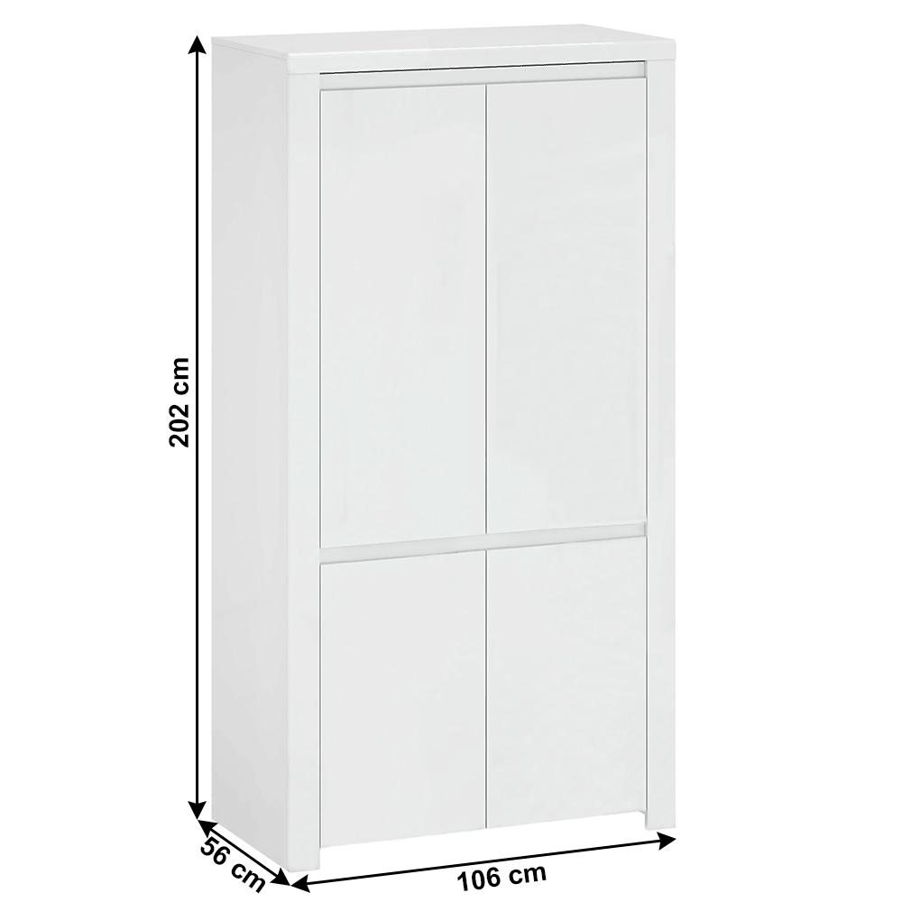 Szekrény 4D, fehér fényes, LINDY