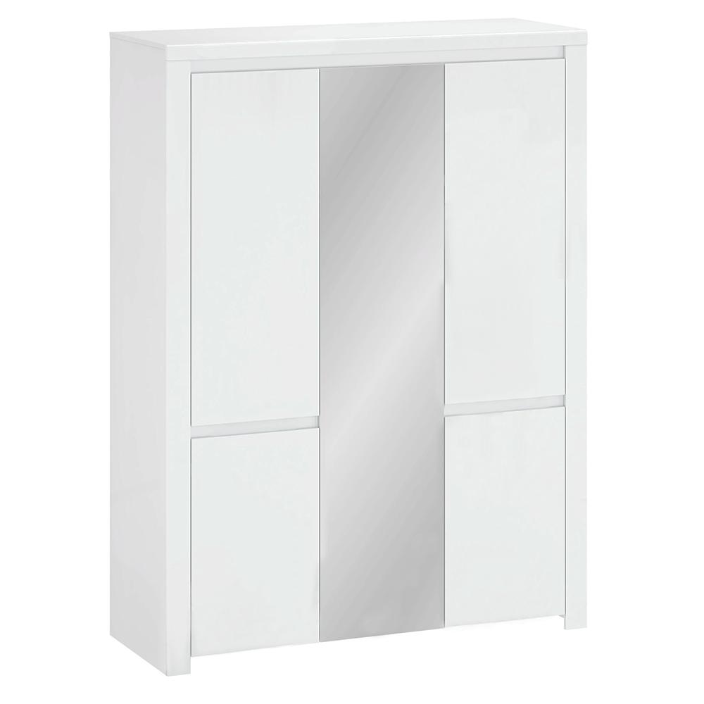 Szekrény 5D tükörrel, fehér fényes, LINDY
