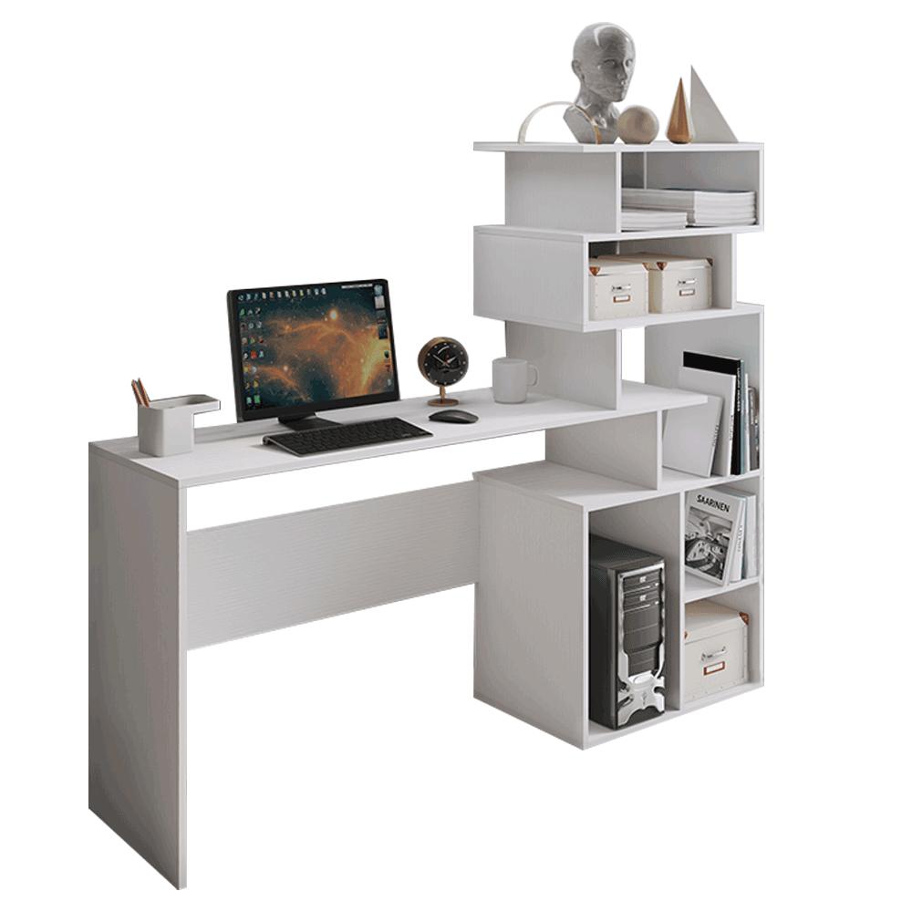 Számítógépasztal, fehér, laminált DTD, MAXIM
