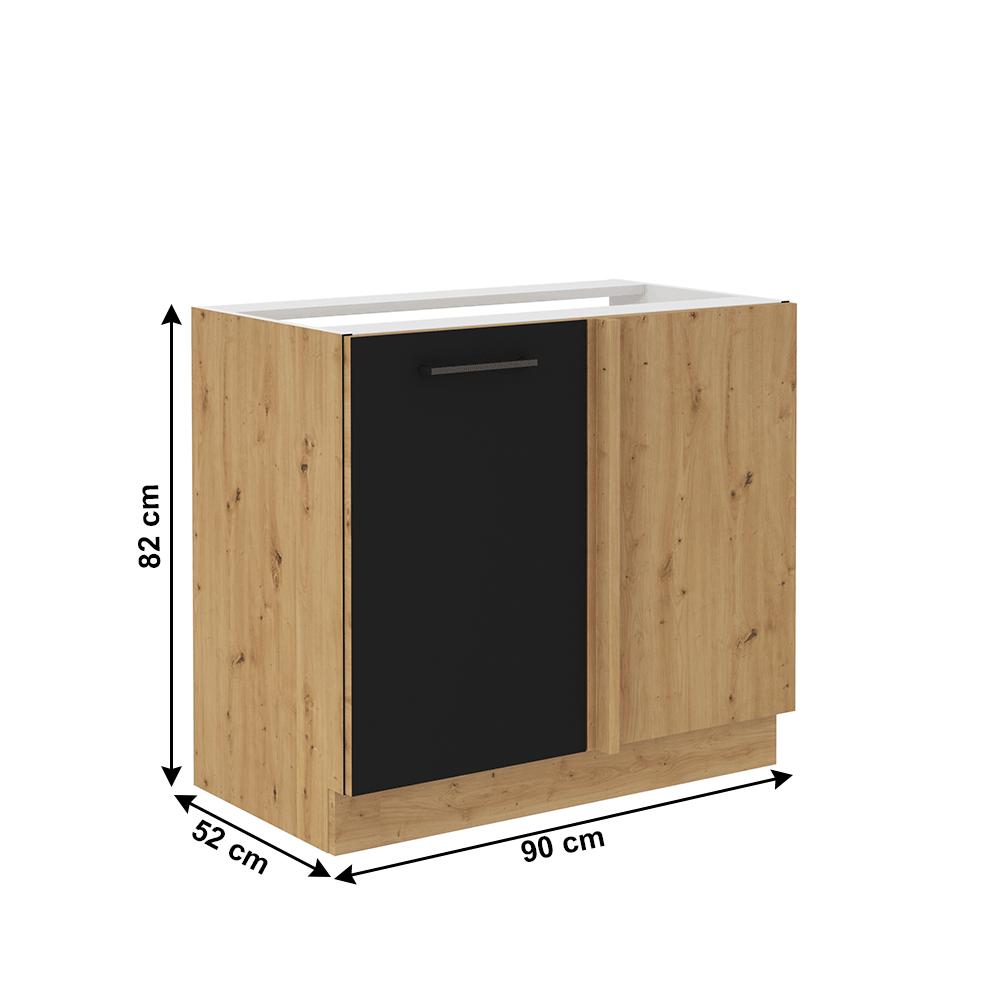 Alsó konyhaszekrény, matt fekete/artisan tölgy, MONRO 105 ND 1FFBB