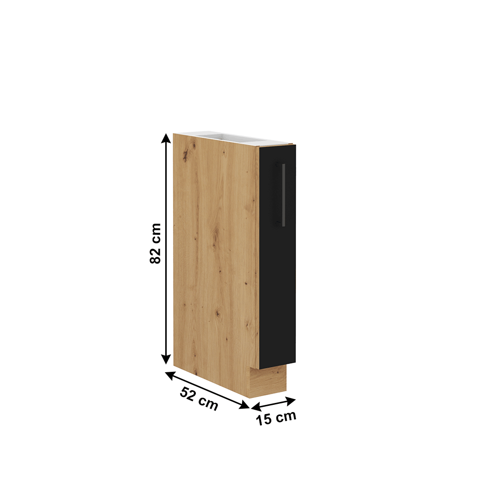 Alsó szekrény fém kosárral, matt fekete/artisan tölgy, MONRO 15 D CARGO