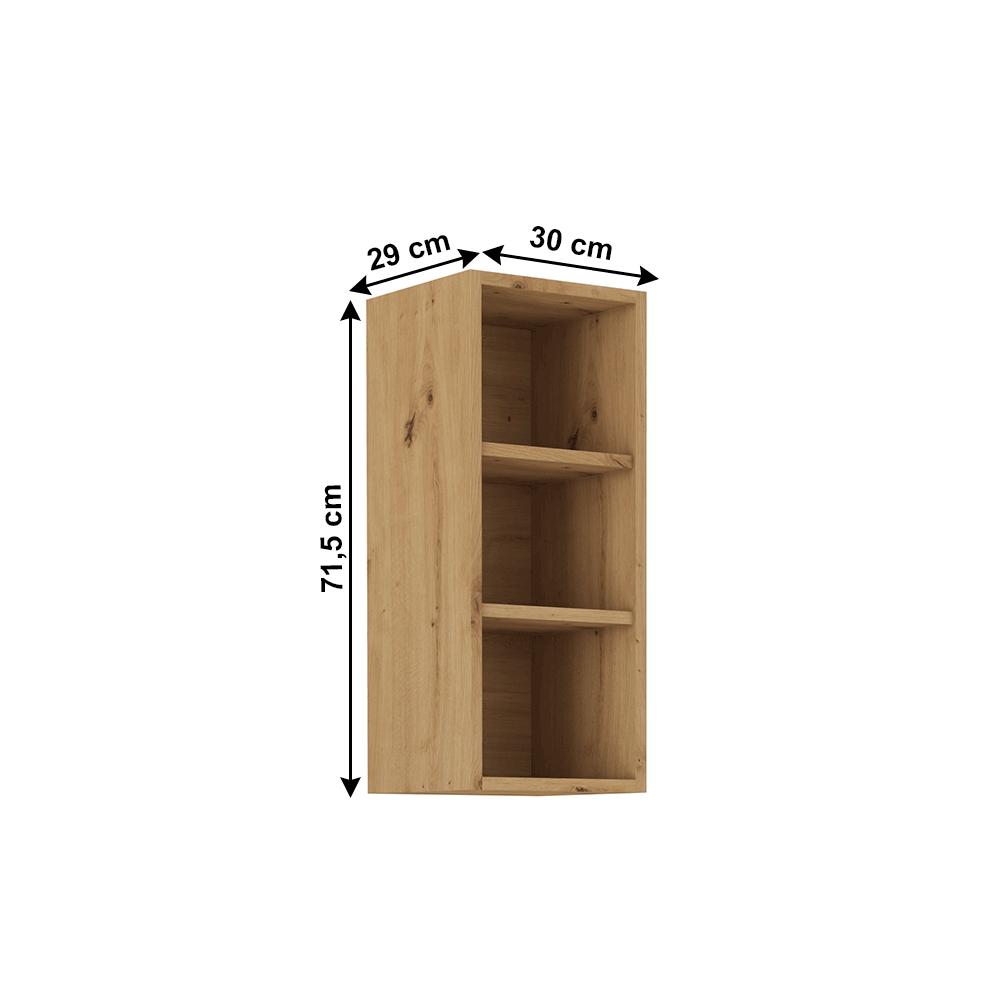 Felső nyitott szekrény, artisan tölgy, MONRO 30 G-72 OTW