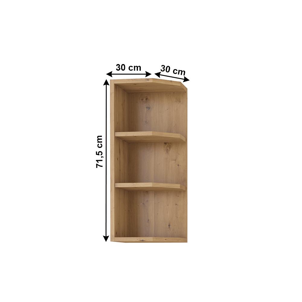 Felső nyitott szekrény, artisan tölgy, MONRO 30 G-72 ZAK