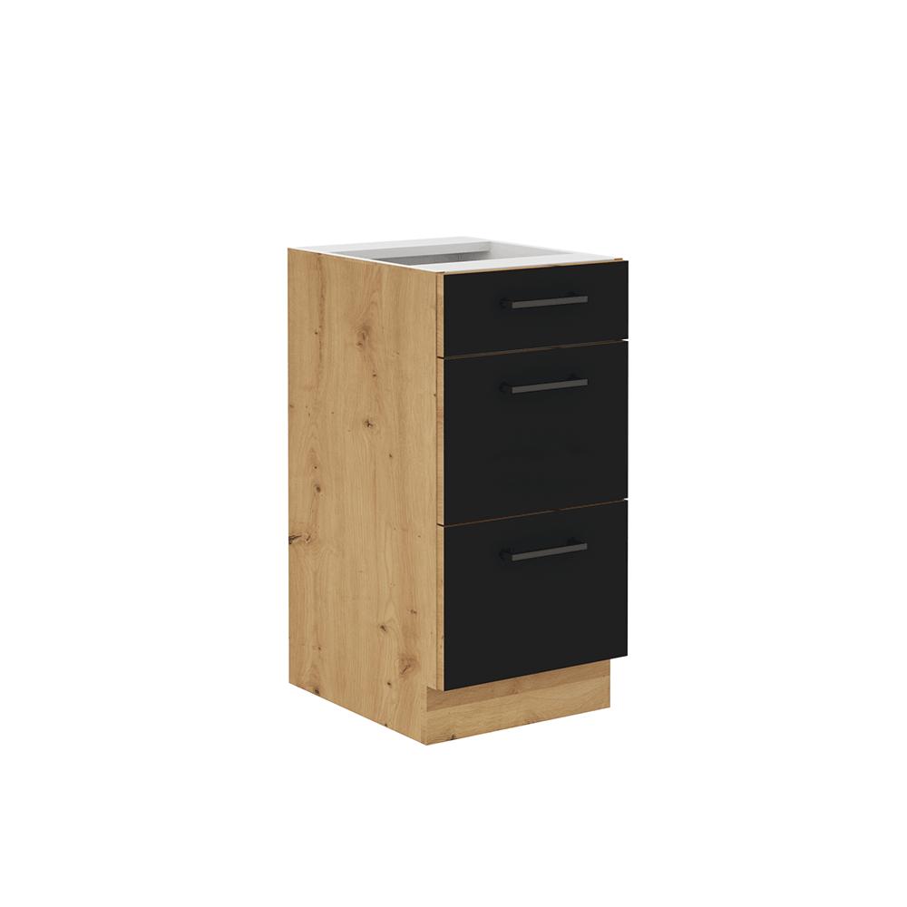 Alsó szekrény fiókokkal, matt fekete/artisan tölgy, MONRO 40 D 3S BB