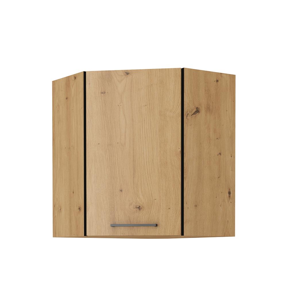 Felső szekrény, matt fekete/artisan tölgy, MONRO 60/60 GN-72 1F