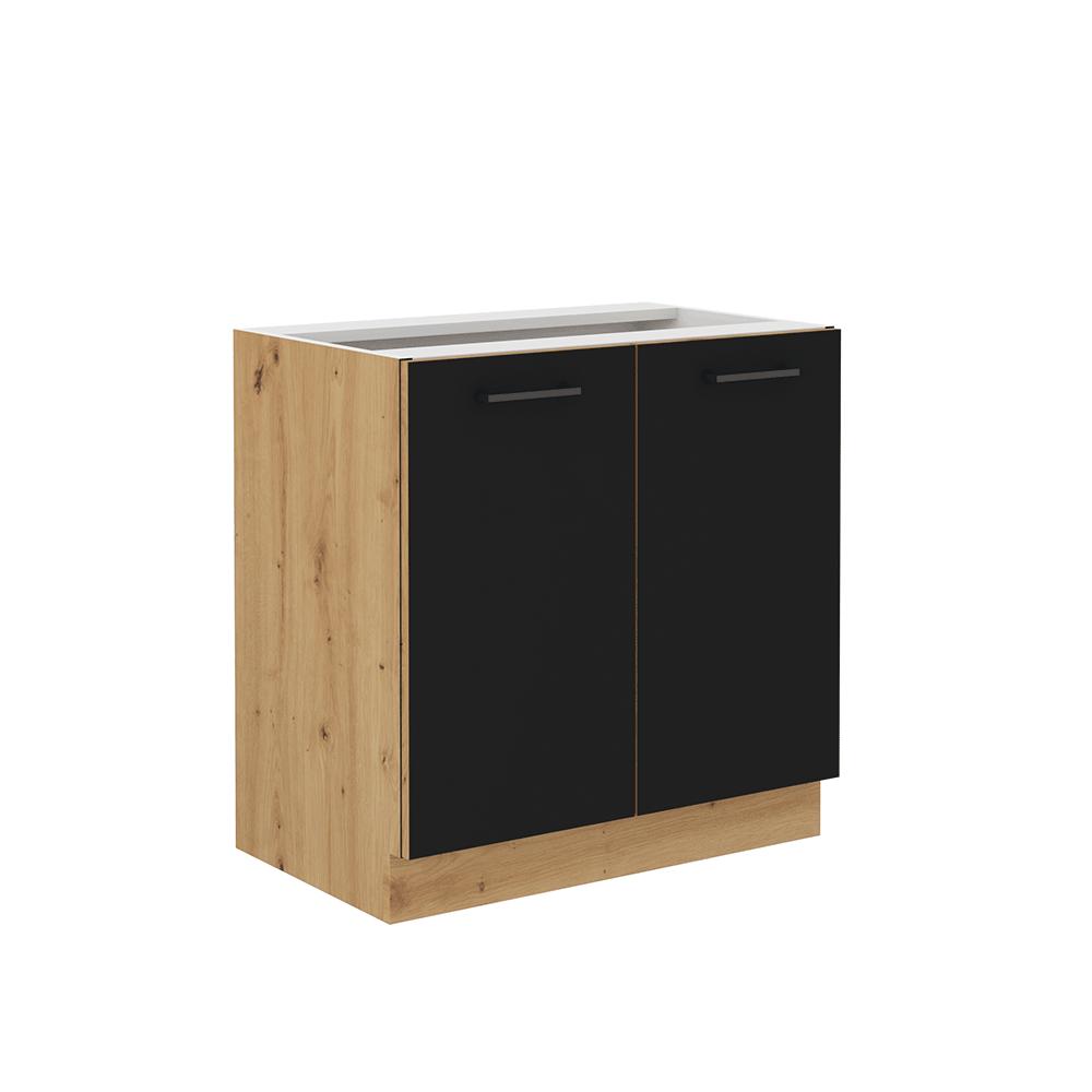 Alsó konyhaszekrény, matt fekete/artisan tölgy, MONRO 80 D 2F BB