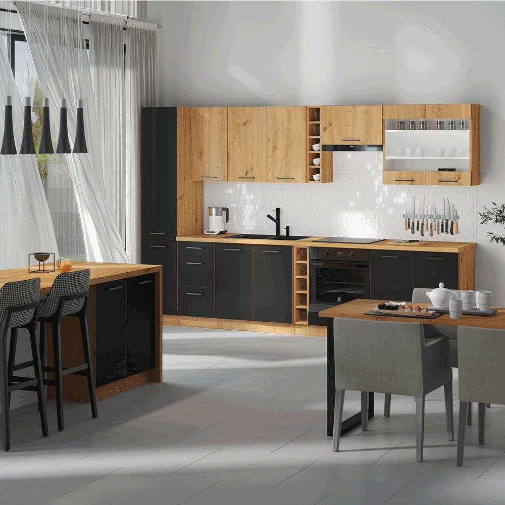 Alsó konyhaszekrény, matt fekete/artisan tölgy, MONRO 60 D 1F BB